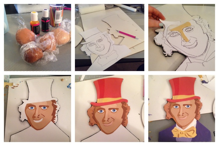 step by step willy wonka face made of fondant