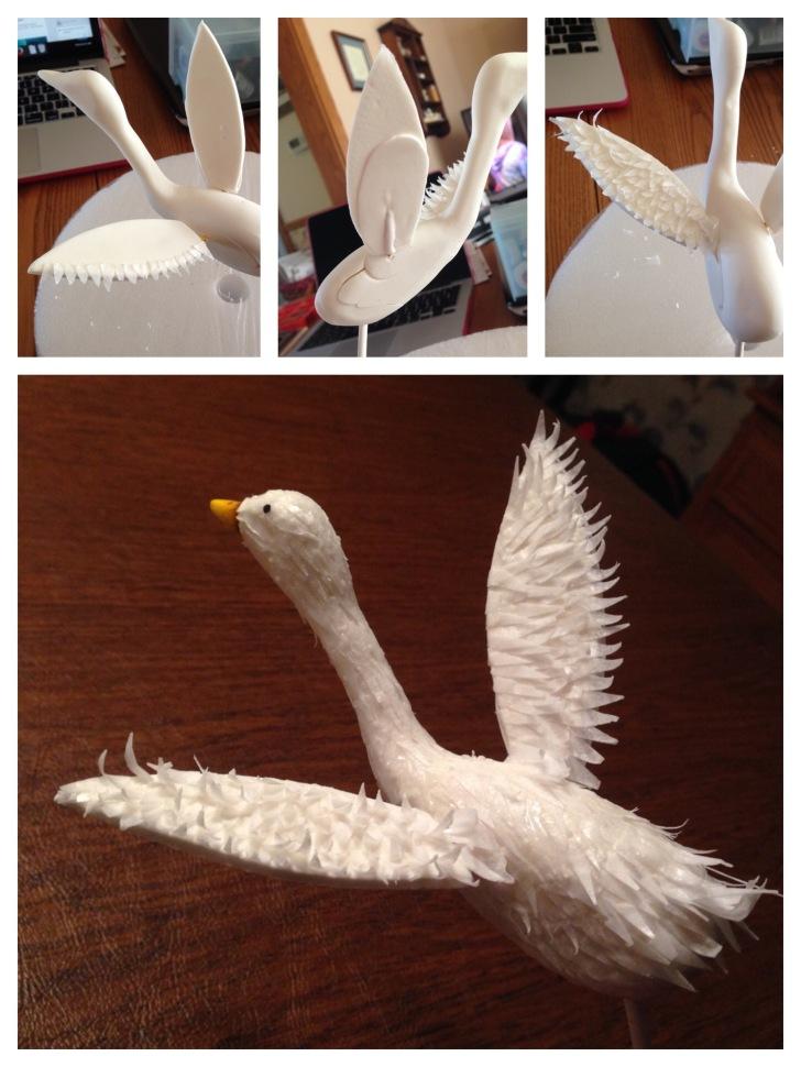 wafer paper swan goose cake
