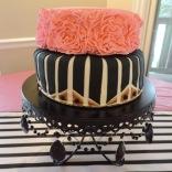 black white pink ruffle cake