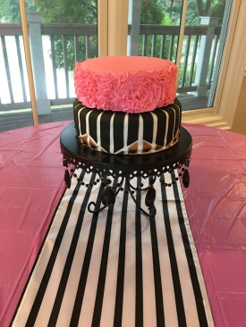 black white stripe cake shower