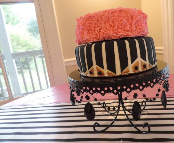 pink fondant ruffle cake