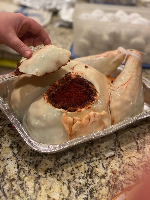 realistic raw turkey cake red velvet fondant
